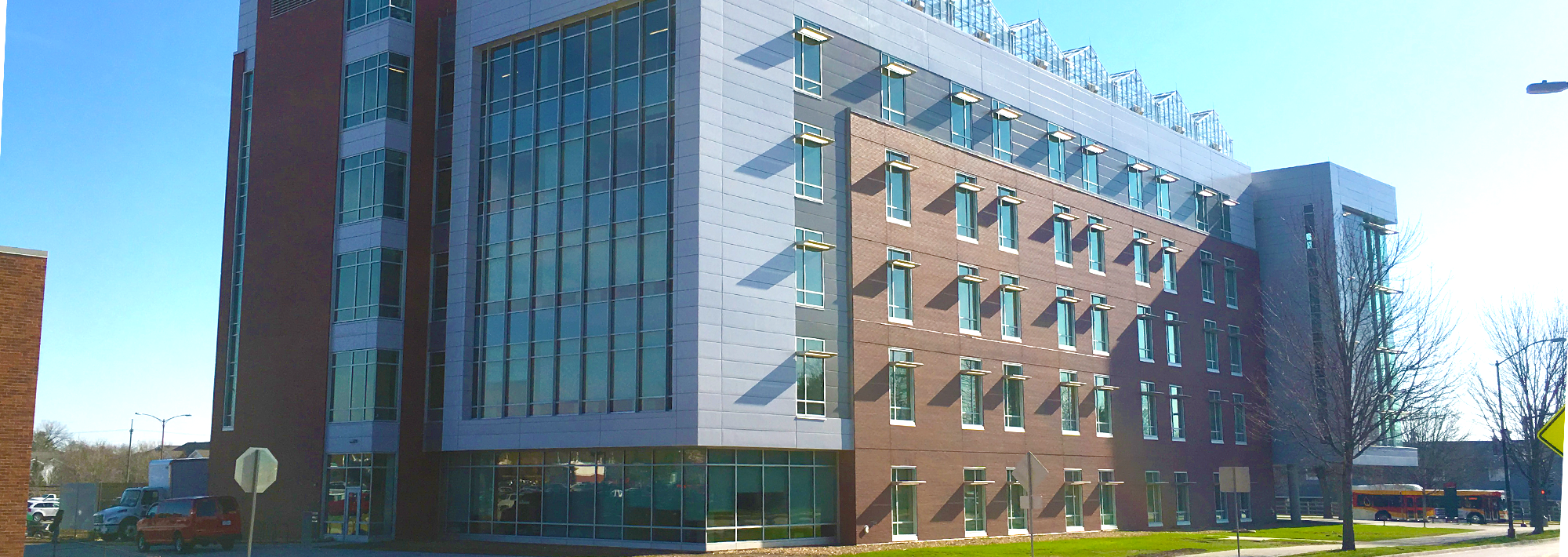 A lovely view of the new ATRB building on a spring day.
