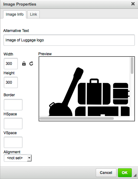 Screenshot of WYSIWIG image editor