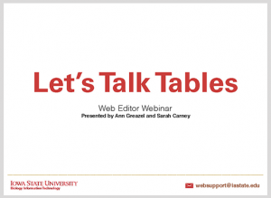 Let's Talk Tables presentation cover
