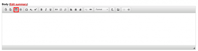 Screenshot of the WYSIWYG text editor table creator/editor