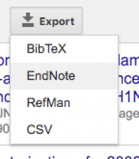 screen capture of Export options - highlighting EndNote