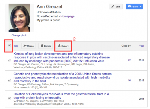 Google Scholar citation example graphic highlighting select all checkbox in left corner and Export button