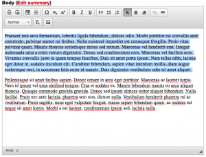 Screenshot of body text with a paragraph highlighted