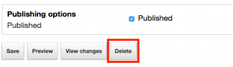 Delete button under publishing options