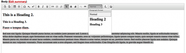 Screenshot of how to fix turning whole paragraphs into headings