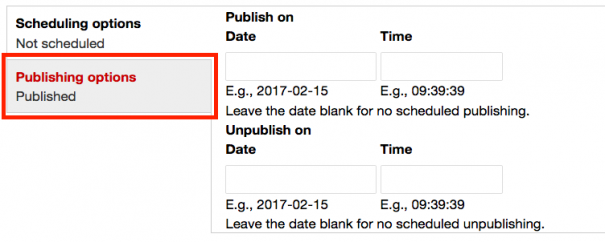 Screenshot of an example of scheduled publishing.