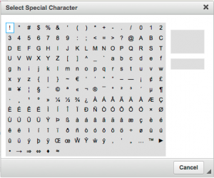 Screenshot of the listing of special characters